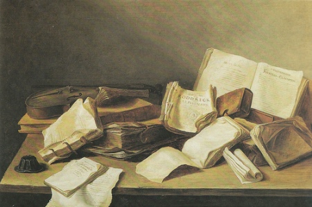Still Life of Books, Jan Davidsz de Heem, 1628